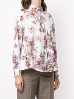 LONG SLEEVE TRAPEZE SHIRT IN PRINTED POPLIN