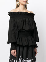 OFF THE SHOULDER TOP IN SILK COTTON VOILE