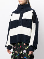 STRIPED HENLEY SWEATER IN COTTON