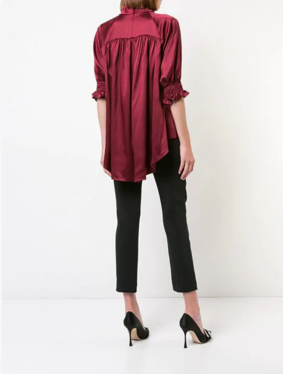 SILK CHARMEUSE MOCKNECK BLOUSE WITH SMOCKED SLEEVE