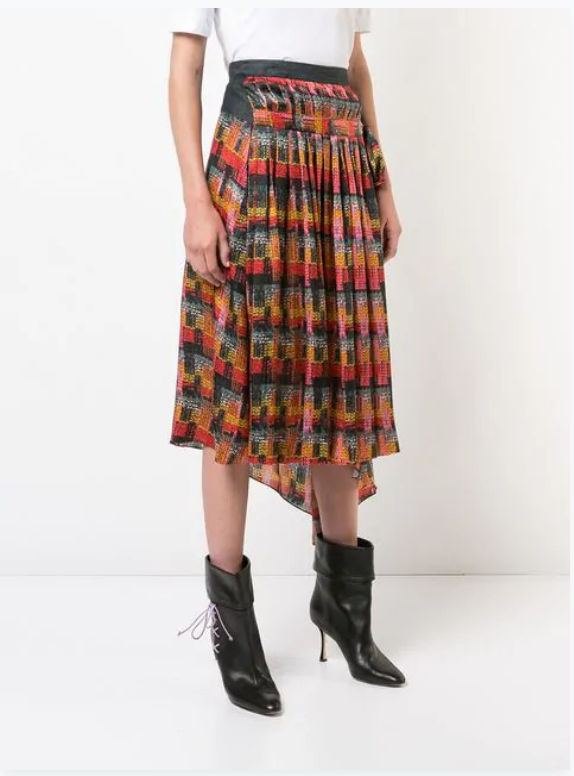 PRINTED SATIN CHIFFON WRAP SKIRT WITH PLEATS AND DENIM PANEL