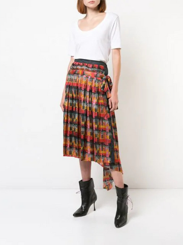 FLORAL HAMMERED SILK WRAP MIDI SKIRT WITH RUFFLE TRIM