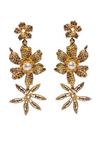 GOLD THREE FLOWER DROP EARRING