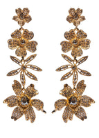 FOUR FLOWER DROP EARRING WITH CRYSTALS