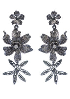 SILVER THREE FLOWER DROP EARRING WITH CRYSTALS