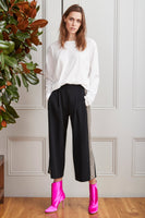 EMBELLISHED STRETCH CADY PLEAT FRONT CULOTTE