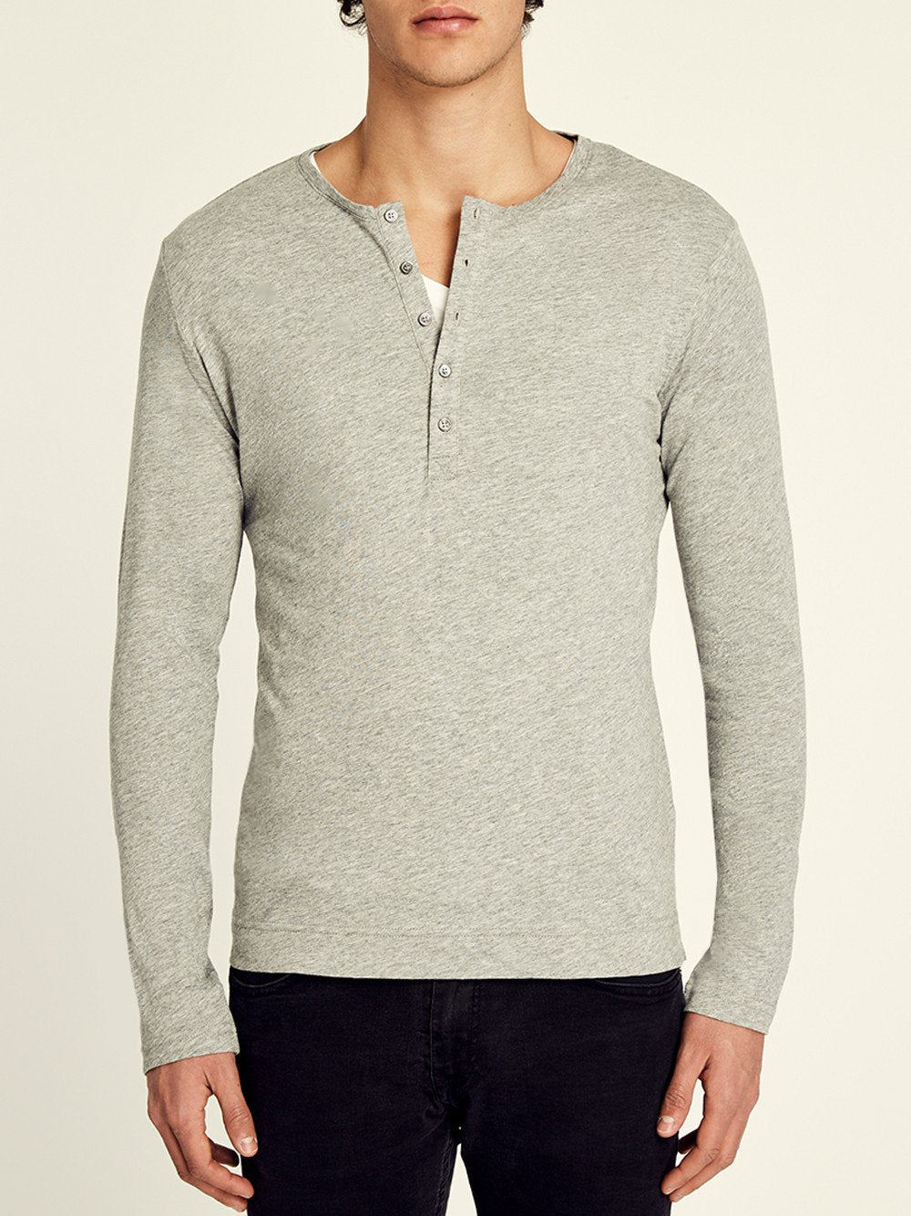 Pima Cotton Long Sleeve Henley T-shirt