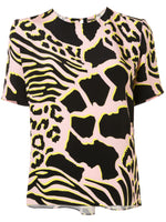PLEAT BACK SHORT SLEEVE TOP IN PRINTED CREPE