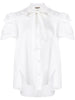 TRAPEZE TOP WITH EMBROIDERED TRIM IN COTTON SHIRTING