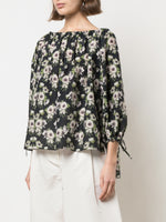 LONG SLEEVE OFF-THE-SHOULDER TOP IN PRINTED VOILE
