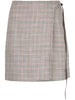 WRAP MINI SKIRT IN SILK LINEN PLAID