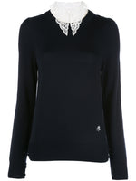 CREWNECK SWEATER WITH DETACHABLE LACE COLLAR IN MERINO WOOL