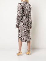 TIE-WAIST DOLMAN SLEEVE DRESS IN PRINTED SILK TWILL