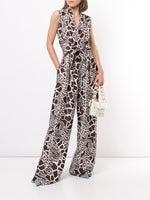 SLEEVELESS BELTED JUMPSUIT IN PRINTED SILK TWILL