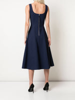 SCOOP NECK FLARE DRESS IN BONDED NEOPRENE