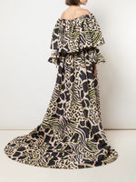 OFF-THE-SHOULDER TIERED SLEEVE GOWN IN PRINTED TAFFETA