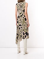 V-NECK DRESS WITH SIDE DRAPE IN PRINTED CREPE