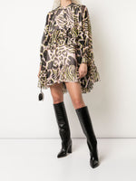 TIERED RUFFLE MINI DRESS IN PRINTED SILK CHIFFON