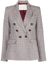 DOUBLE BREASTED BLAZER IN SILK LINEN PLAID