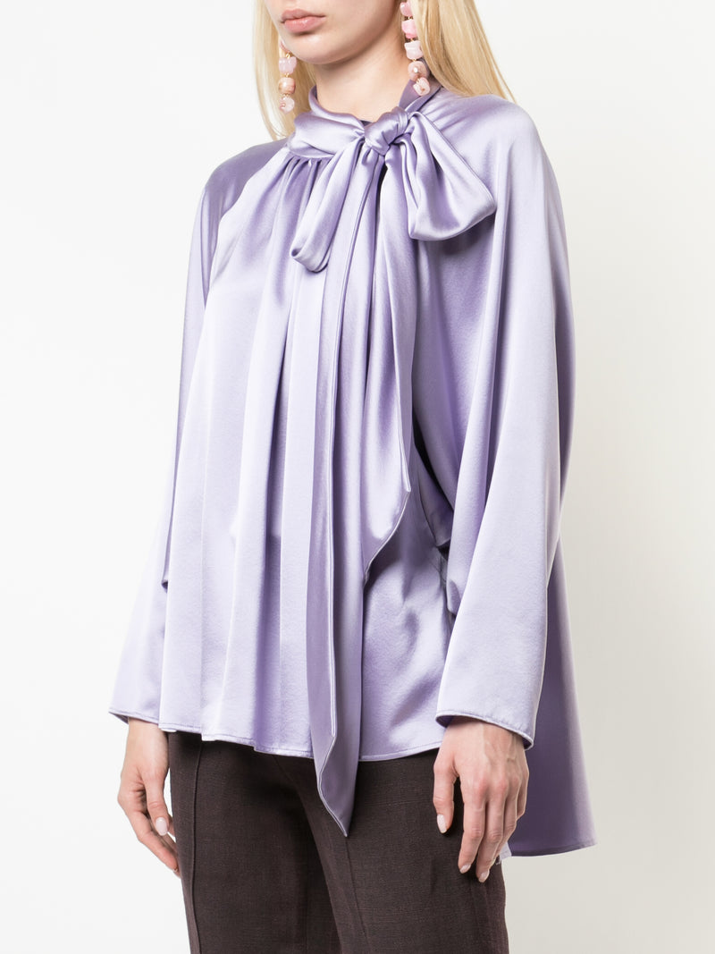 SILK CHARMEUSE DOLMAN SLEEVE BLOUSE WITH SCARF