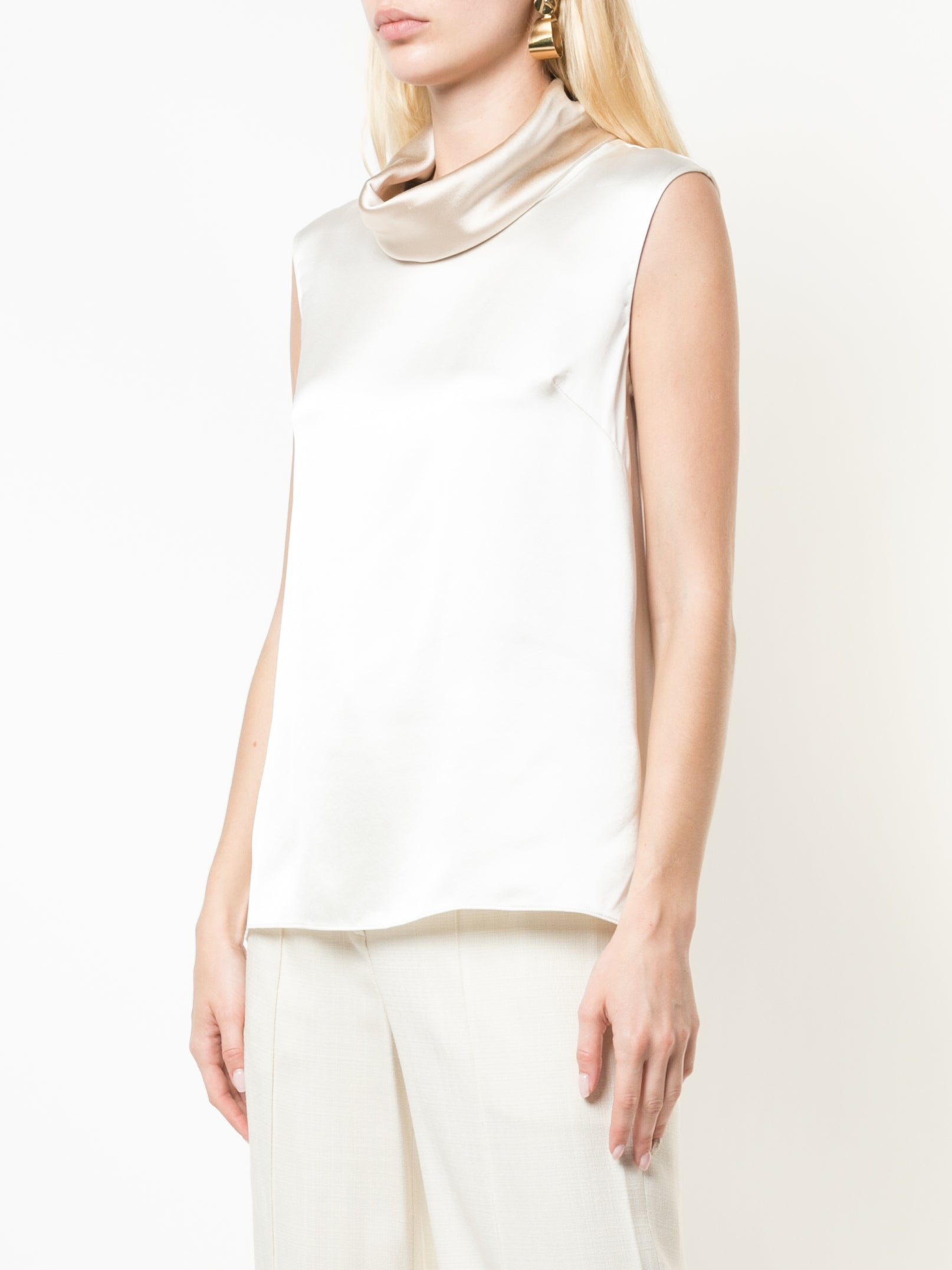 SILK CHARMEUSE COWL NECK TOP
