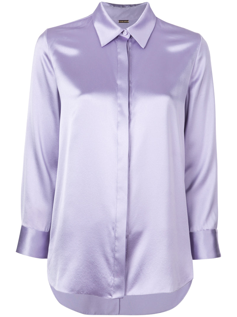 SILK CHARMEUSE FITTED MENSWEAR SHIRT