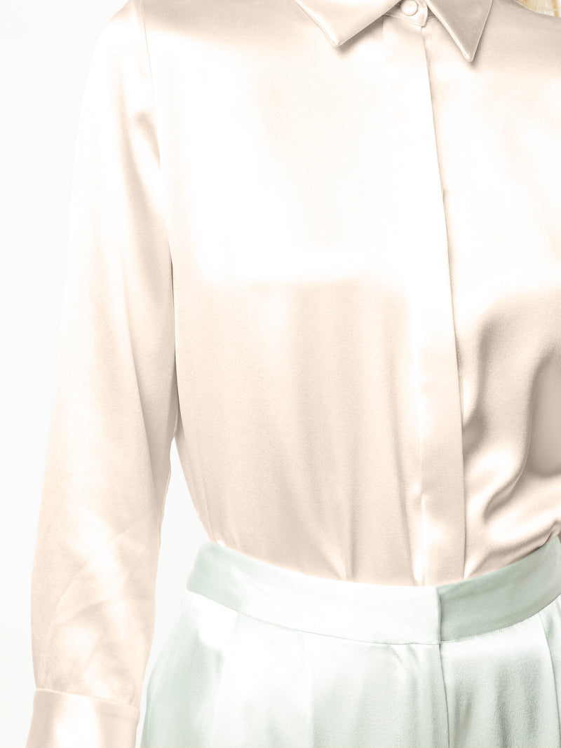SILK CHARMEUSE FITTED MENSWEAR SHIRT nude