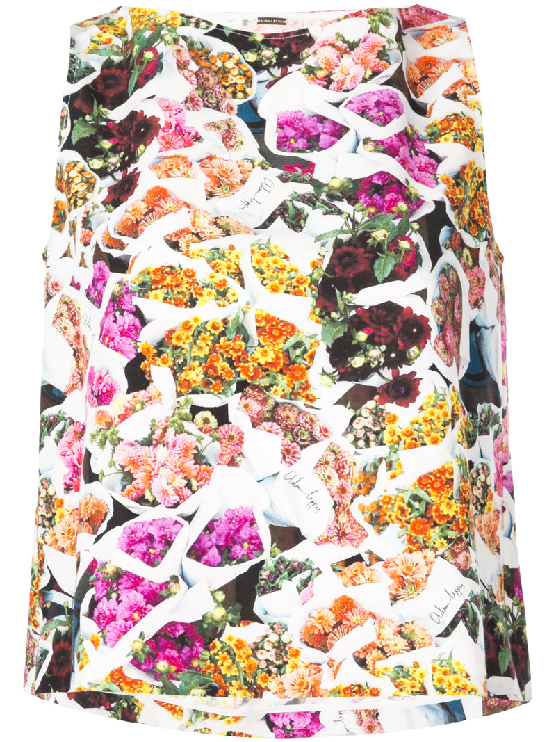 PRINTED COTTON SILK FAILLE CROPPED SHELL