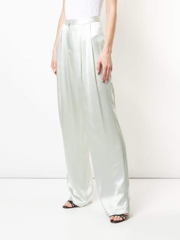 SILK CHARMEUSE PLEAT FRONT TROUSER