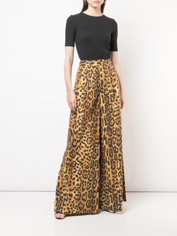 PRINTED POPLIN WIDE-LEG PLEAT FRONT PANT