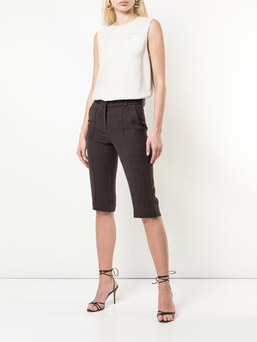 DOUBLE FACE WOOL CIGARETTE PANT WITH PINTUCK