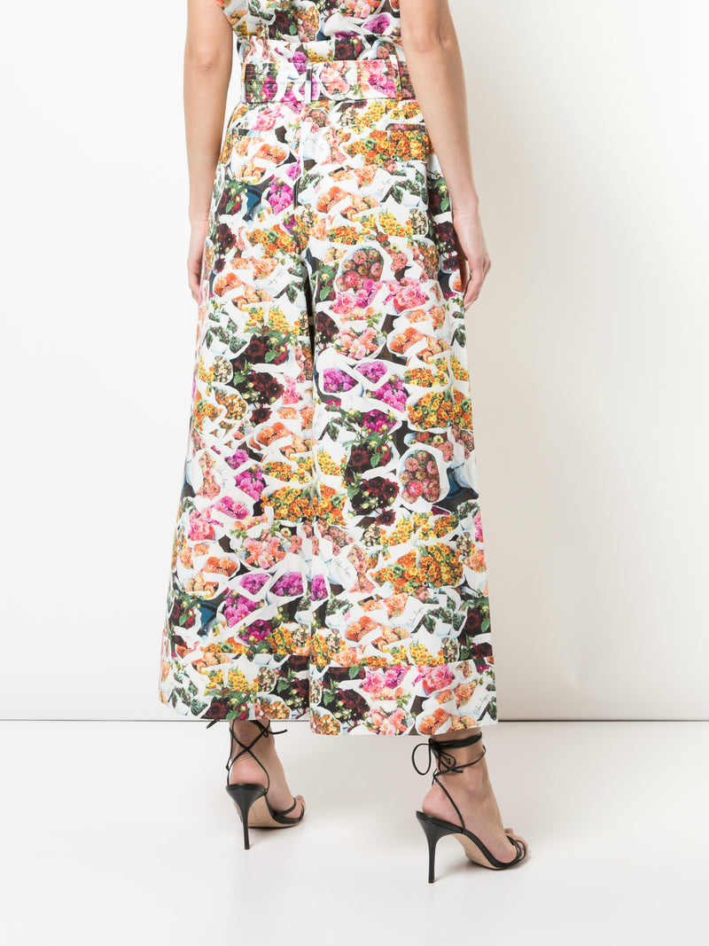 PRINTED COTTON SILK FAILLE TIE-WAIST CULOTTE