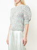 TEXTURED COTTON PUFF SLEEVE SWEATER