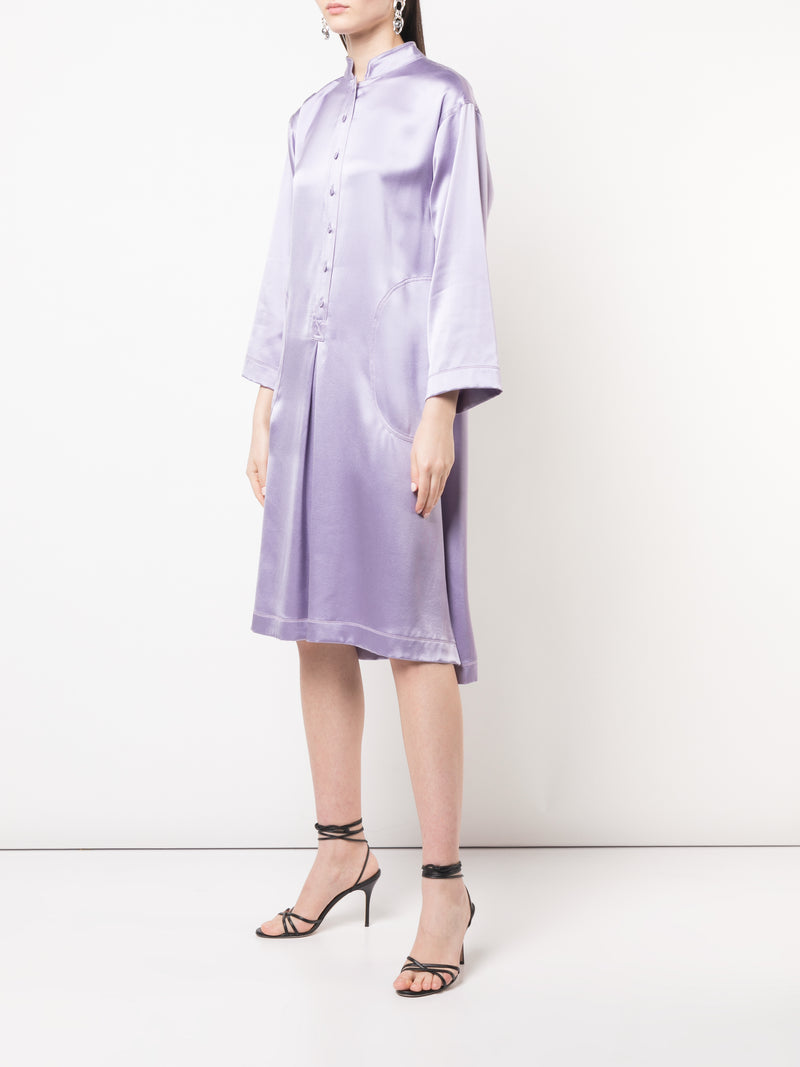SILK SATIN CREPE TUNIC DRESS W PLACKET