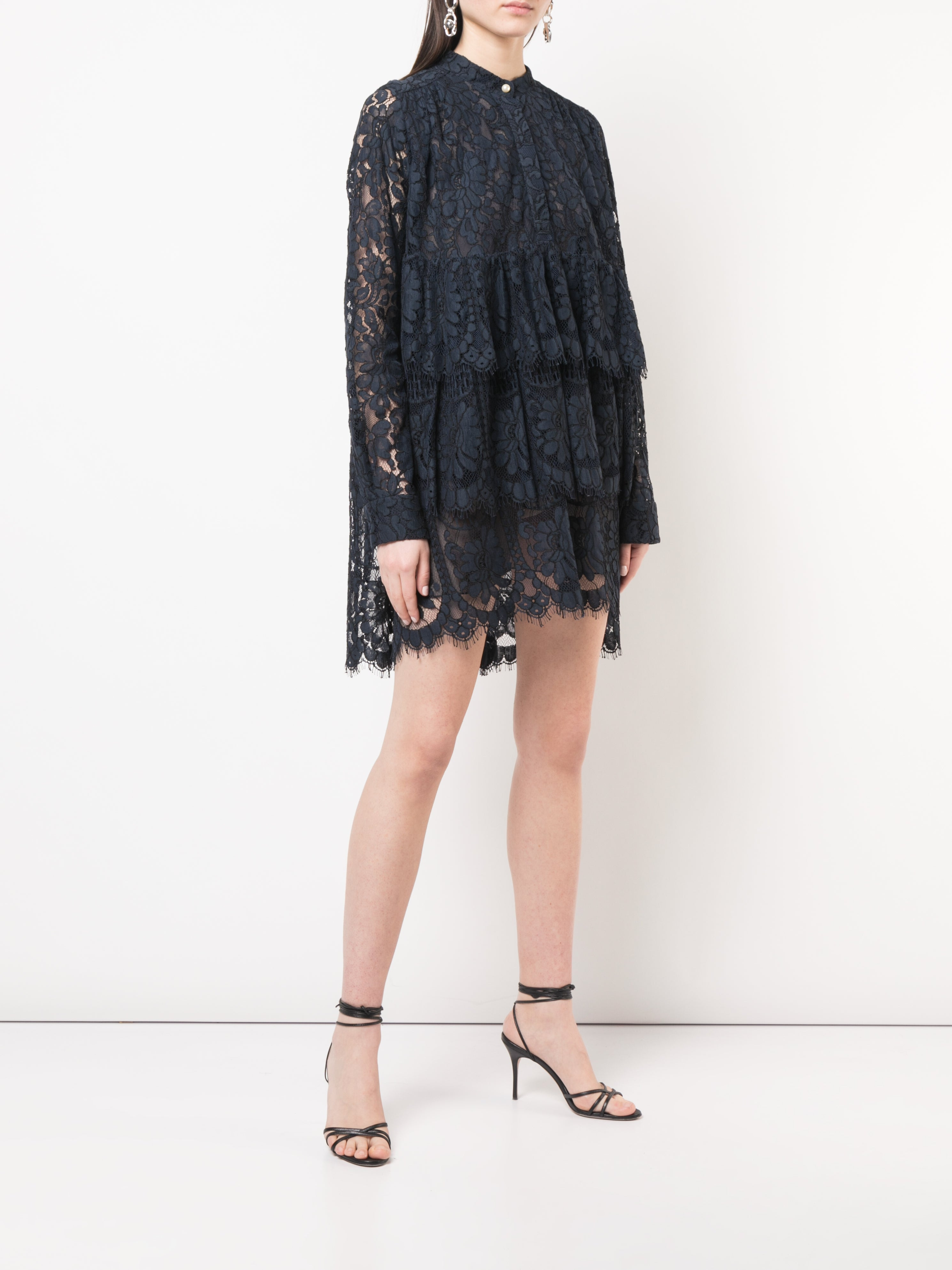 CORDED LACE TIERED RUFFLE MINI DRESS