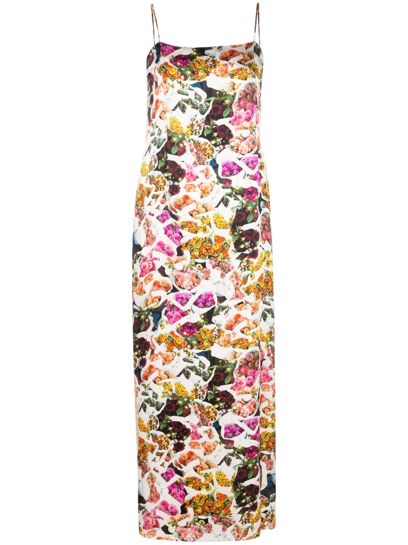 PRINTED SATIN CHIFFON CAMI DRESS