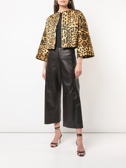 PRINTED DUCHESS SATIN CROPPED JACKET WITH PLEATS