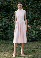 SLEEVELESS DRESS WITH FRONT PLEATS IN SILK