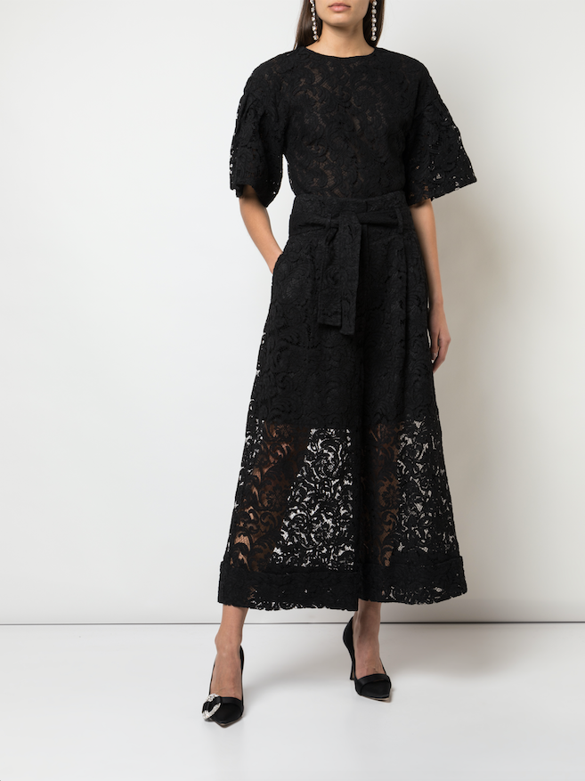 TIE-WAIST CULOTTE IN CORDED LACE