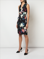 V-NECK DRESS WITH DRAPED WAIST IN PRINTED CREPE