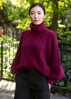 PUFF SLEEVE CABLE KNIT TURTLENECK IN SILK CASHMERE