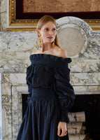 OFF THE SHOULDER DRESS IN SILK COTTON VOILE