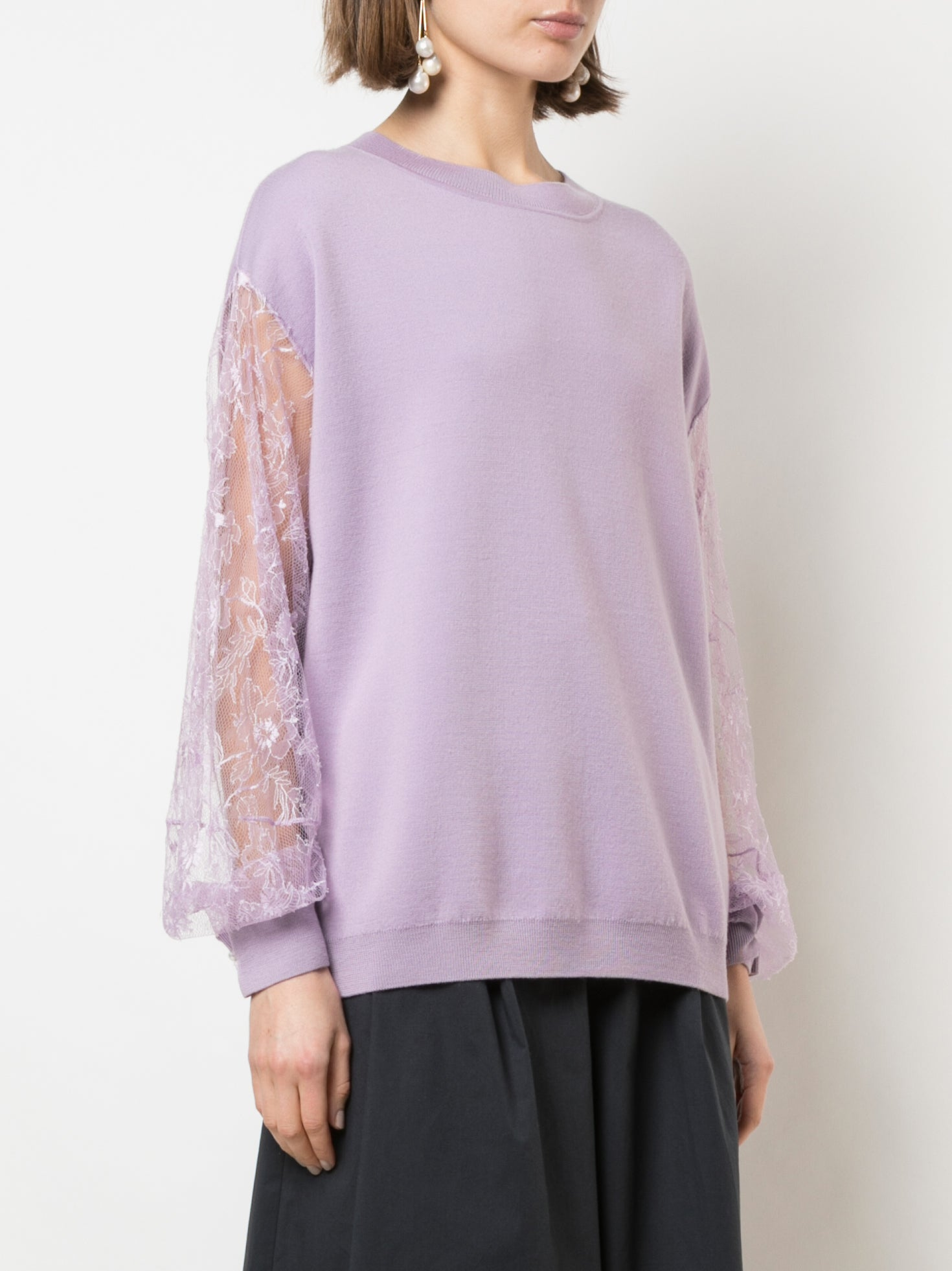 LACE SLEEVE SWEATER IN MERINO