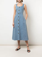 SCOOP NECK FLARE DRESS IN STRETCH DENIM