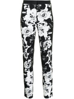 CIGARETTE PANTS IN PRINTED DENIM