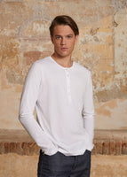 LONG SLEEVE HENLEY T-SHIRT IN PIMA COTTON