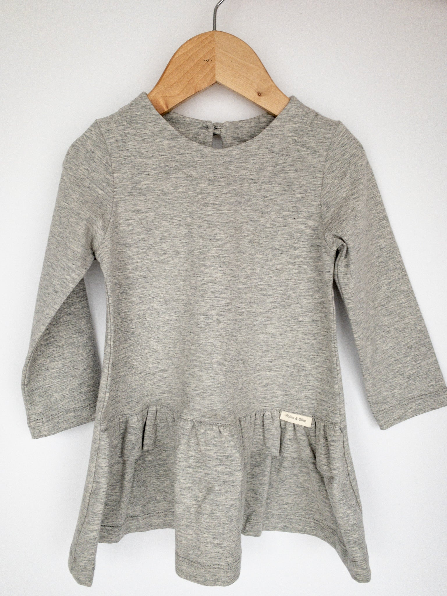 Long Sleeve Cotton Lycra, Double Frill Dress / Grey