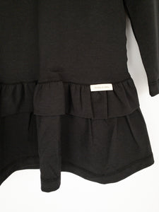 Long Sleeve Cotton Lycra, Double Frill Dress / Black