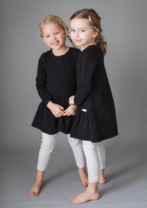 Black cotton lycra dress with double frill for girls aged 4-7