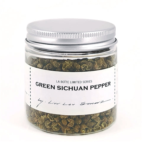 jar of green sichuan pepper